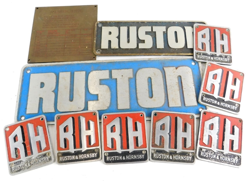 A collection of Ruston engineering or boiler plaques, various sizes and metals.