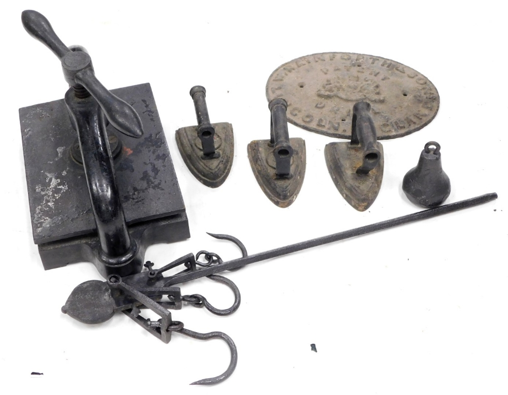 A collection of bygones, to include a Perry and Co Limited iron book press, a set of Avery Imperial