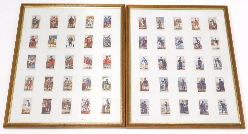 A set of Player's cigarette cards, The Story of Naval Dress. (50 in two frames)