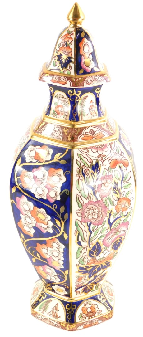 A Masons Ironstone vase and cover, decorated with Penang pattern, limited edition number 72 of 1996,