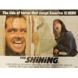 A film poster for the Stanley Kubrick film The Shining, with slogan The Tide of Terror That Swept Am