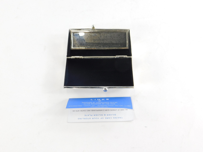 A Links of London silver plated lipstick holder, of plain rectangular form, the hinged lid revealing - Image 2 of 2