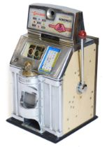 A Jennings The Governor one arm bandit or fruit machine, with chrome plated case, 69cm high, 42cm wi