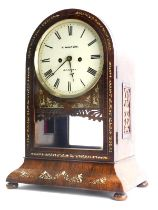 A Victorian rosewood and mother of pearl inlaid mantel clock, painted with numerals and bearing the
