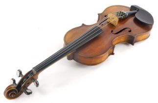 A late 19thC violin, with ebonised and boxwood purfling, one piece back labelled William Laughir, ma