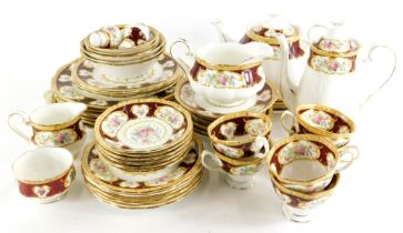 A Royal Albert Lady Hamilton pattern part tea and dinner service, to include teapot and cover, dinne