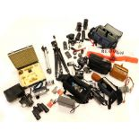 A Merlin Edixa camera and some accessories, an Asahi sun lens, a Vivitar 55mm sun lens, various othe