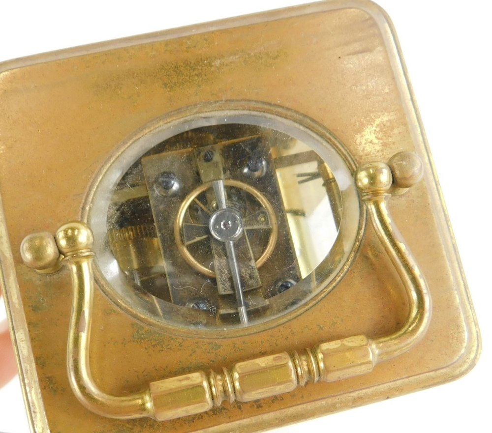 A late 19th/early 20thC French brass carriage clock, the white enamelled dial stamped Philip Hart, L - Image 4 of 4