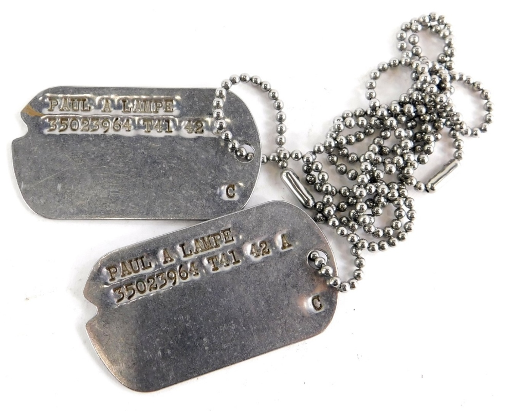 An original World War Two American dog tag for a Paul A Lampe (35023964), enlisted Ohio 11th June 19