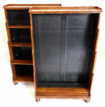 A pair of 19thC rosewood waterfall open bookcases, each with a raised gallery above three shelves, s