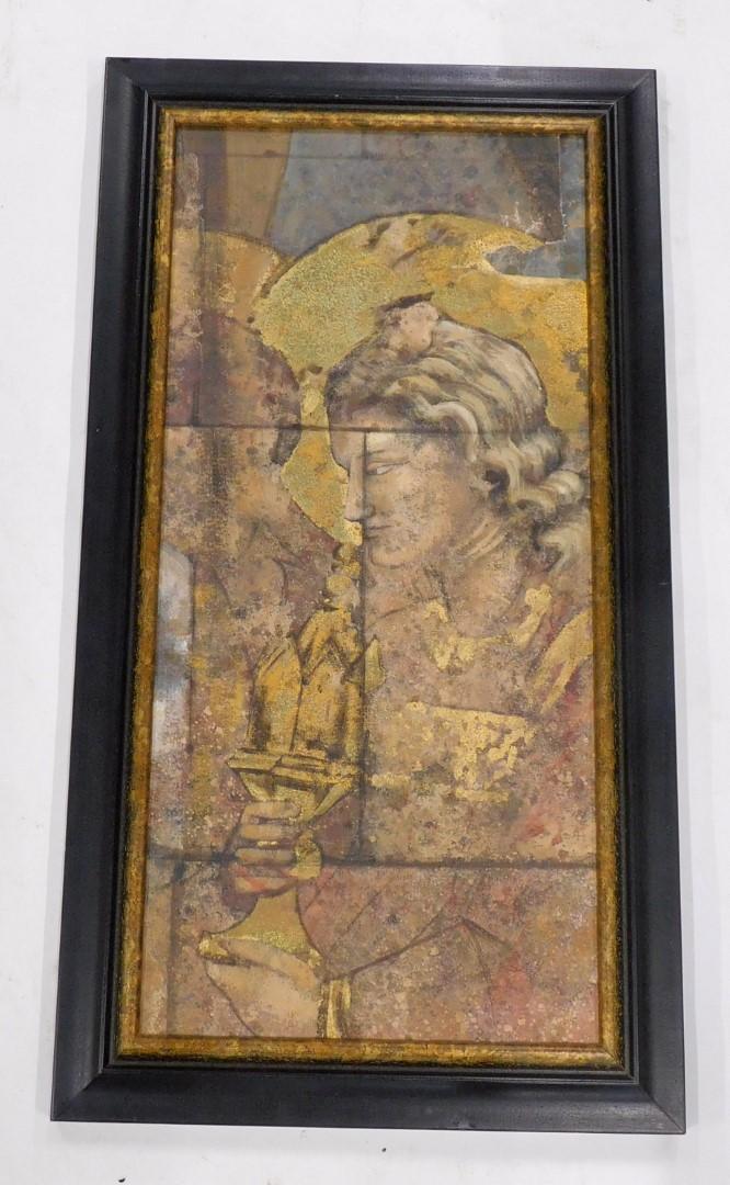 21stC School. Neo Classical figure fresco , oil on canvas mounted onto board, 68cm x 32cm. Provenanc