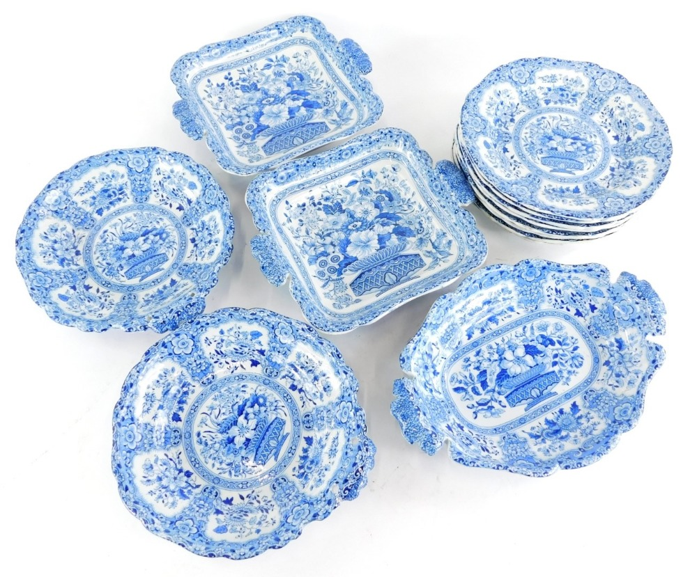 A 19thC semi China Nankeen pattern part dessert service, to include five dishes and a set of eight m