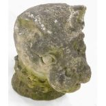 A large Heraldic stone carving of a lion, wearing an indistinct crown to its neck, (AF), 43cm high,