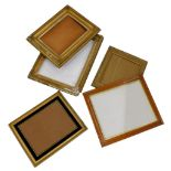 A collection of gilt gesso, birds eye maple and other picture frames, various sizes.
