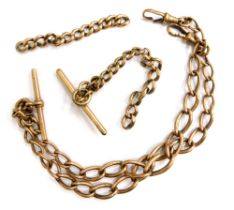 A 9ct gold watch chain, with two t-bars, and clips, (AF), 47.9g all in.