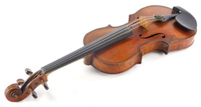 A late 19th/early 20thC violin, with ebonised stringing, the back in highly figured burr maple, no l