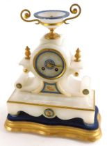 A late 19thC continental alabaster mantel clock, with an urn shaped two handled crest, the dial with