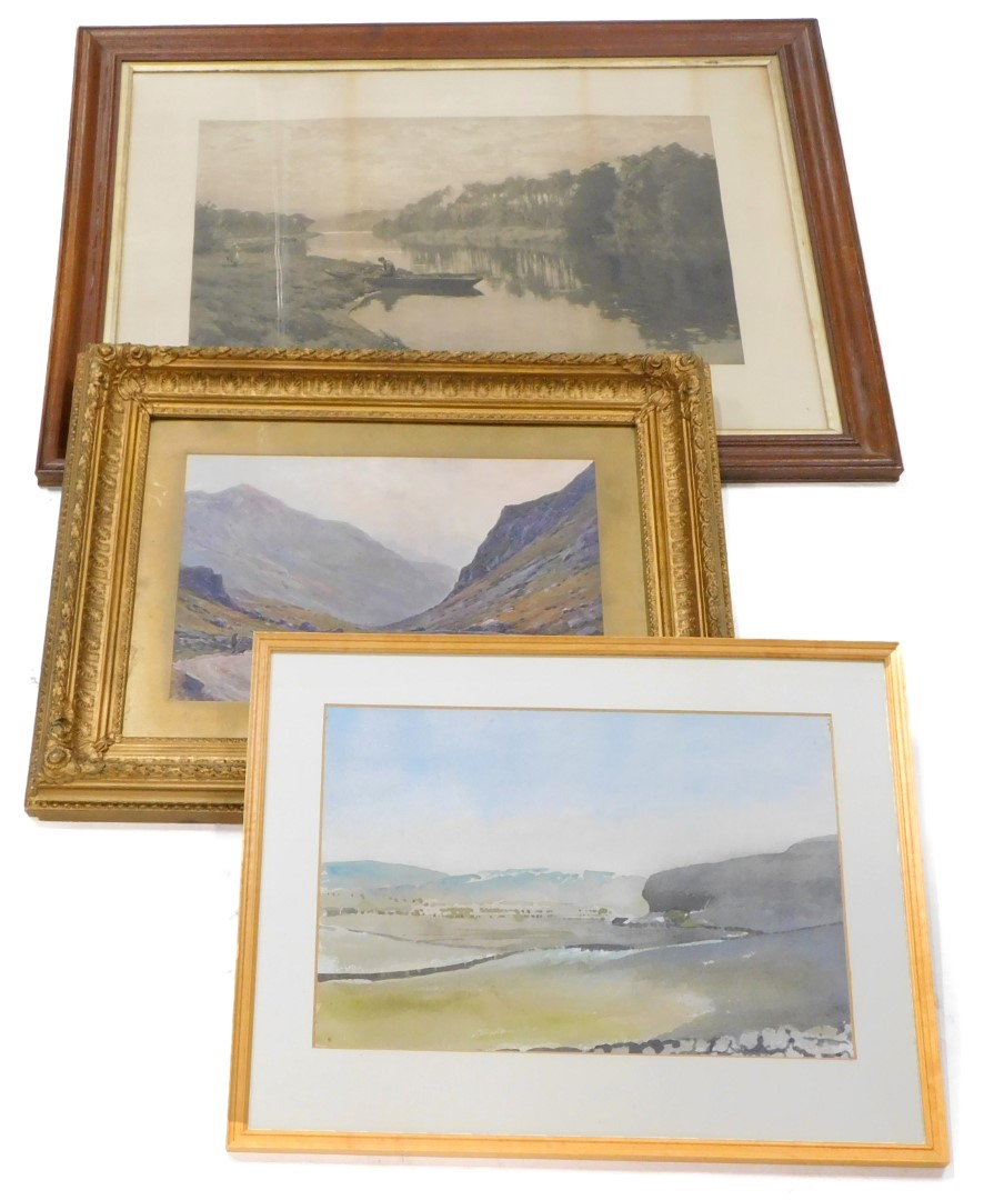 Alan D Hitchcock. Kilascilasey, watercolour, 29cm x 41cm, a print titled A September Morning, and a