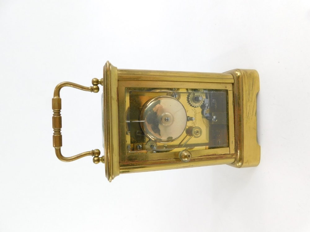A late 19th/early 20thC French brass carriage clock, the white enamelled dial stamped Philip Hart, L - Image 3 of 4
