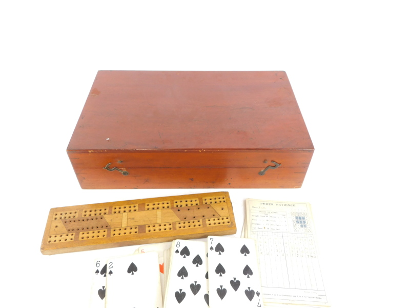 A late 19th/ early 20thC mahogany games box or compendium, to include draughts, cribbage, dominoes, - Image 2 of 2