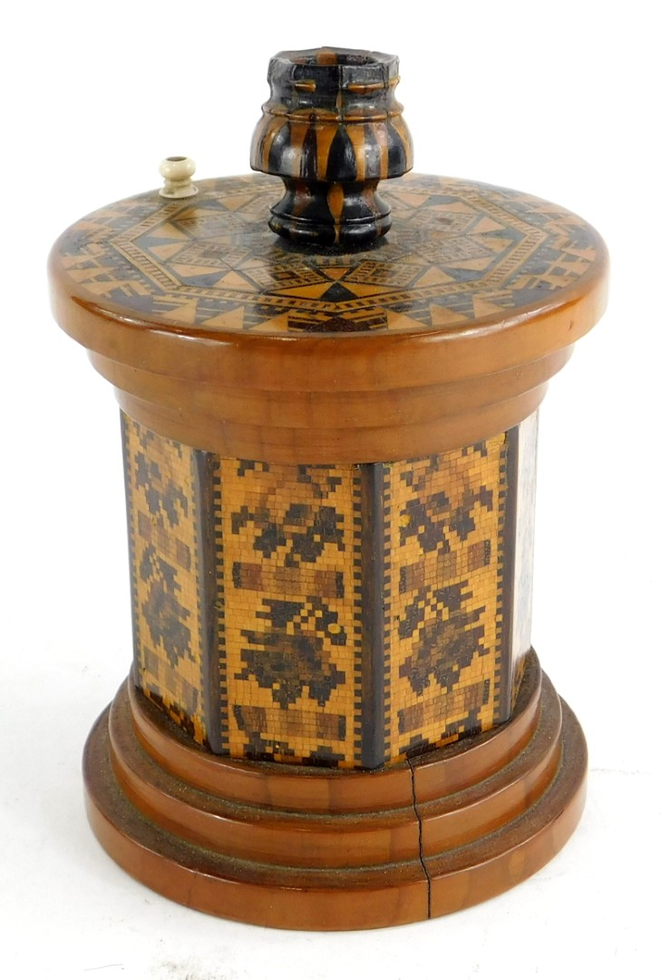 A 19thC Tunbridge ware sealing wax outfit, the lid applied with a candle sconce and a turned ivory f