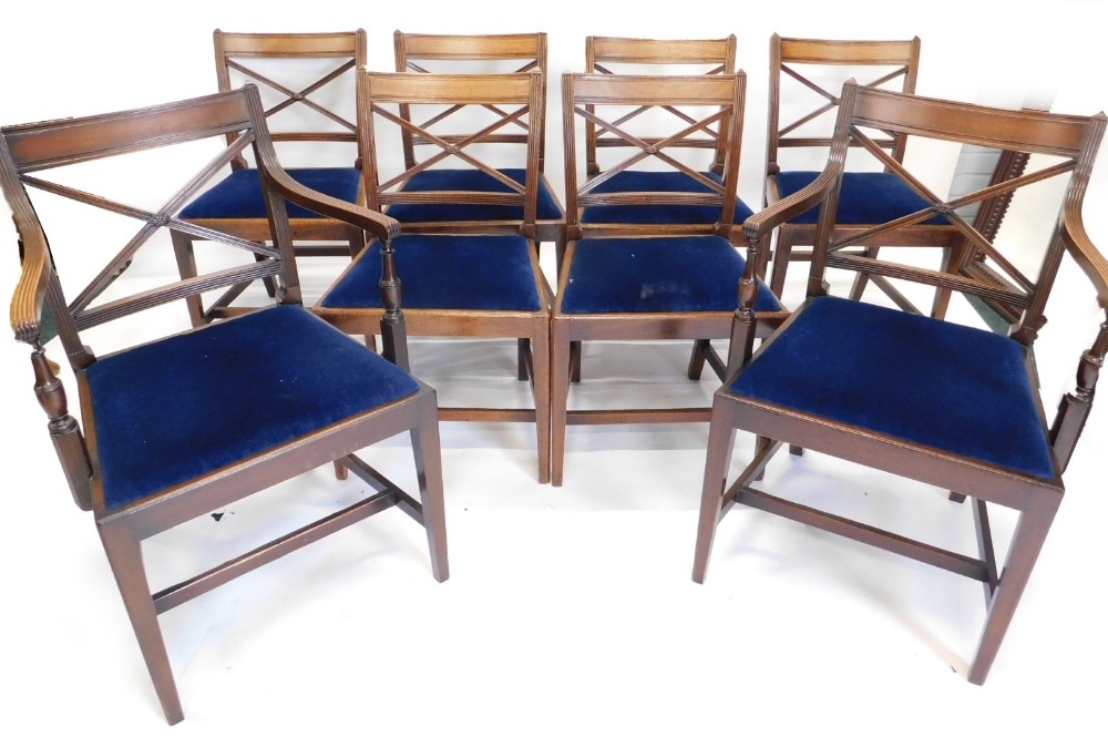 A set of eight early 19thC mahogany dining chairs, each with reeded supports and X shaped back, a dr