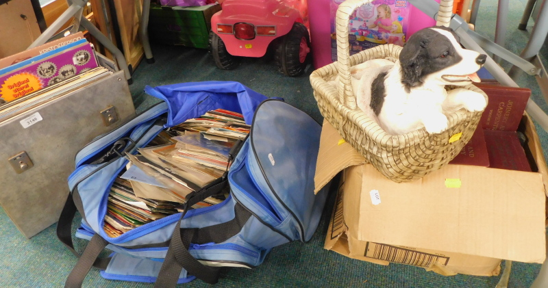A quantity of records, various books relating to joinery and carpentry, dog in basket figure group,