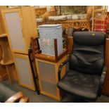 A collection of furniture, to include an office chair, three lightwood cabinets, a wicker laundry ba