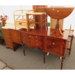 A mahogany Carlton Collective serpentine fronted sideboard, a small chest, an oak kitchen chair with