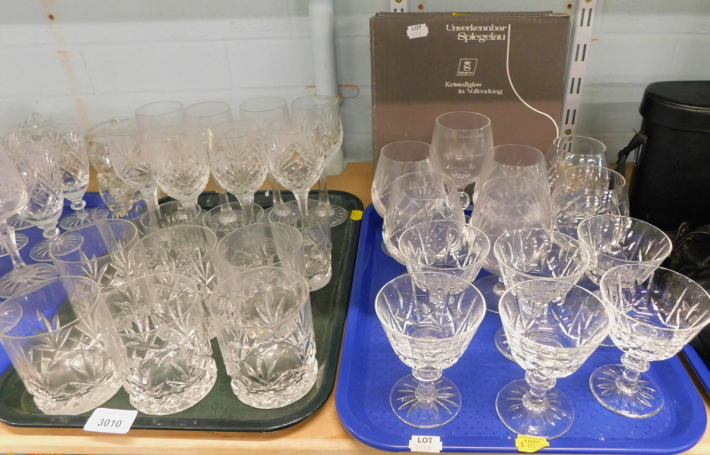A quantity of drinking glasses, to include cut glass tumblers, brandy balloons, boxed Spiegelau glas