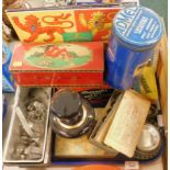 A collection of kitchenalia, to include cutters, a mincer and various tins, etc., two records, decan