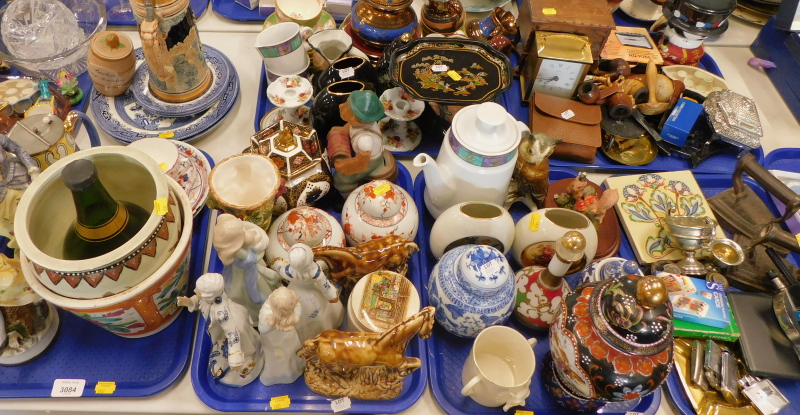 Decorative china and effects, to include ginger jars and covers, a pair of continental style figures