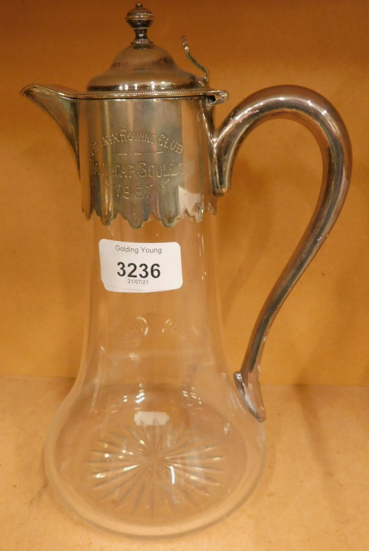 A Victorian presentation glass claret jug, with silver plated mounts, lid and handle, inscribed 'Pho