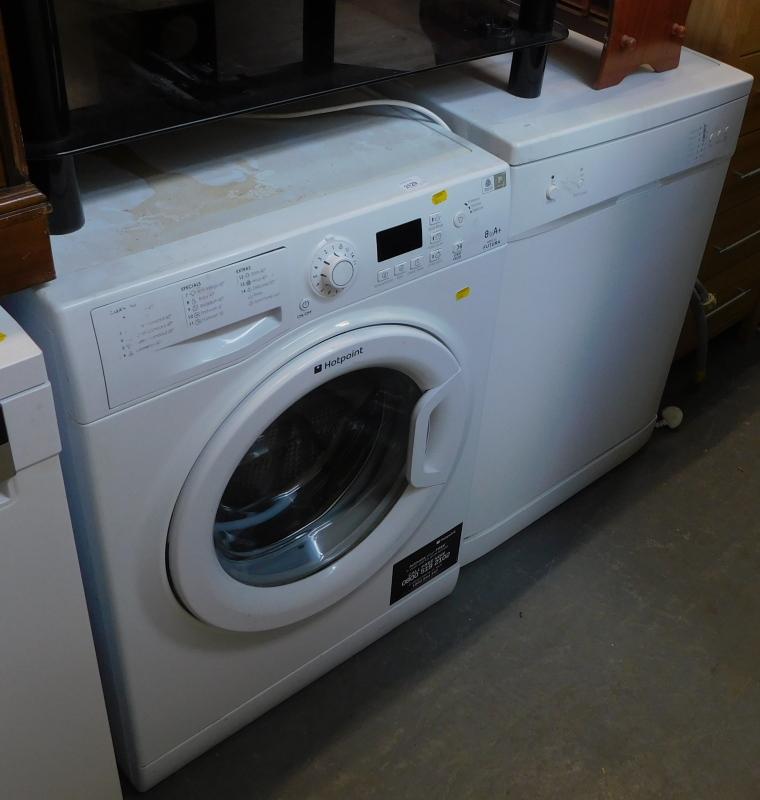 A Hotpoint WMFG 821 Futura washing machine, and a dishwasher.