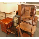 A collection of furniture, to include a pine three drawer cabinet, an oak two tier window table, an