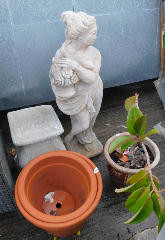 Garden ornaments, to include a figure of a lady on plinth, two terracotta plant pots, etc. (a quanti