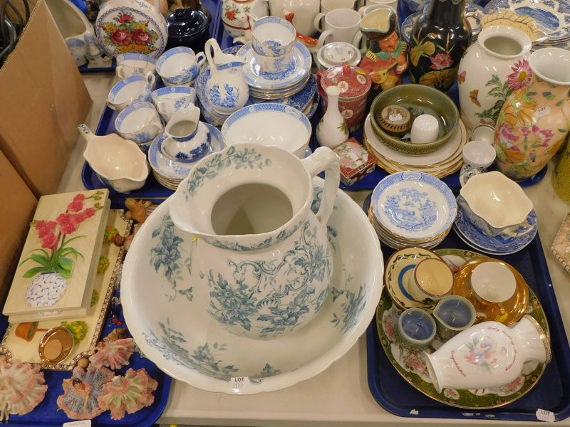 A Shelley transfer printed wash jug and bowl, a blue and white part tea service, crinoline figures,