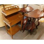 A collection of furniture, to include a pair of two tier demi lune tables, and a telephone table. (3
