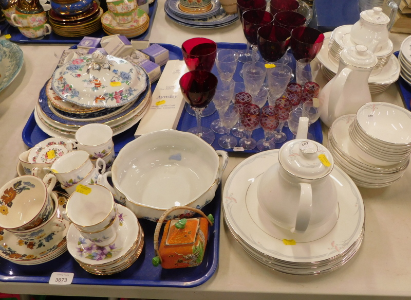 A Royal Doulton Carnation pattern part tea and dinner service, various boxed Wedgwood napkin rings,