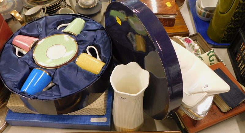 A Royal Worcester In Celebration of HRH 80th Birthday coffee set, boxed, a two tier cake stand, boxe