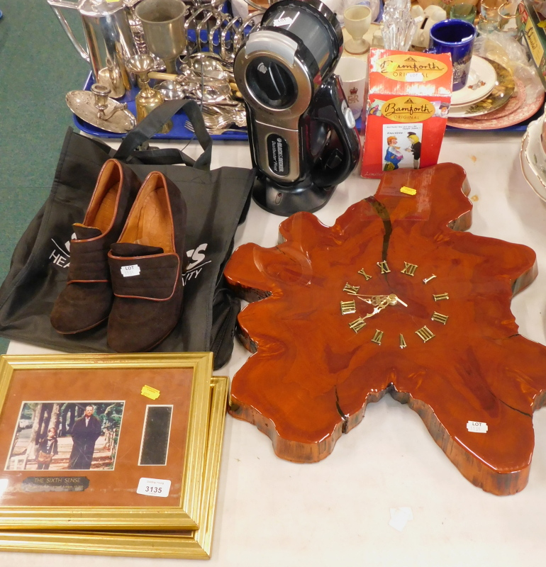 A pair of Chie Mihara suede shoes, size 40, a Black & Decker Dustbuster Pivot, a wall clock, two fil