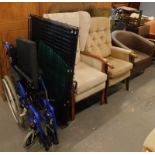 A collection of furniture, to include various chairs, dog bed, metal dog crate, wheelchair, etc. (a