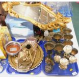 A quantity of plated goblets, brass tray, eastern style Buddha figure, wine coaster, gilt framed orn