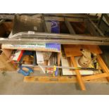 A metal step ladder, various hand tools, pictures, spirit level, Mobil Oil can, etc. (contents of un