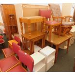 A collection of furniture, to include an extending kitchen table, various chairs, a rocking chair, n