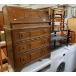 A collection of furniture, to include glass three tier TV stand, a bureau, oak nest of three tables