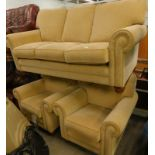 An Alstons Upholstery three seater sofa, and two matching armchairs.