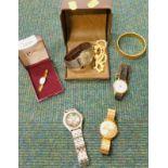 A quantity of gent's wristwatches, to include Services, Regus, a bangle, etc. (a quantity)