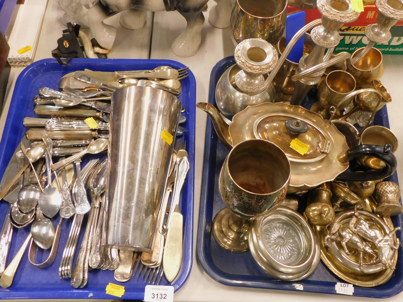 A quantity of plated wares, to include loose flatware, three branch candelabrum, moulded glass coast