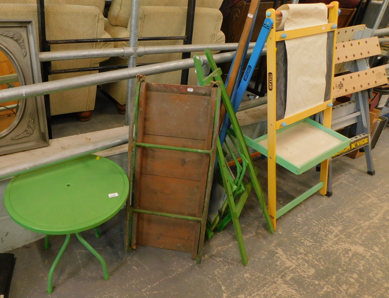 A child's sledge, child's easel, a bench n' vice work bench, etc. (a quantity)